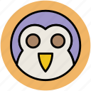 animal, cartoon owl, hooter, owl, owl face, watchful owl icon