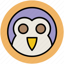 animal, cartoon owl, hooter, owl, owl face, watchful owl icon