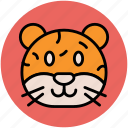 cartoon tiger face, jaguar, leopard, panther, tiger icon