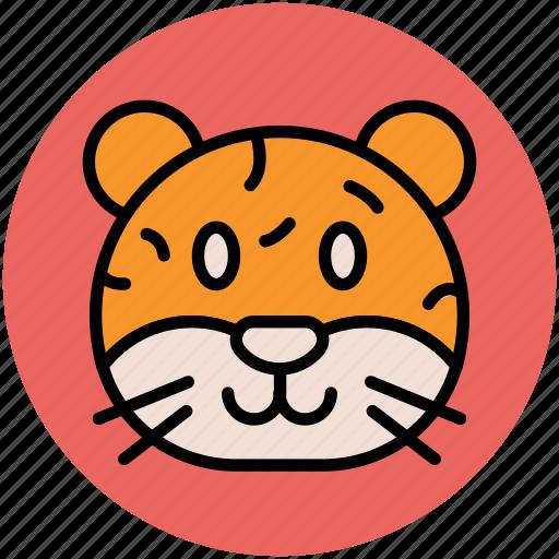 cartoon tiger face, jaguar, leopard, panther, tiger icon