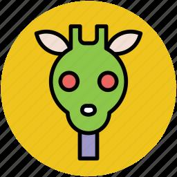 animal, cartoon giraffe, fun, giraffe, giraffe face icon