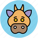 gnu, peccary, pig, pig face, wild boar icon