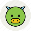 animal, cartoon pig, gnu, peccary, pig, pig face icon