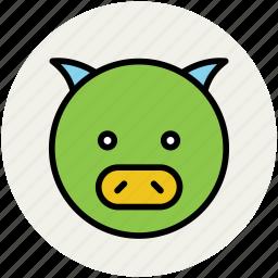 animal, cartoon pig, gnu, peccary, pig, pig face icon