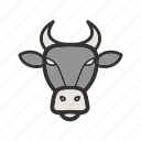 animal, animals, buffalo, face, grass, park, strong icon