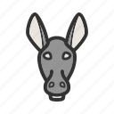 animal, donkey, donkeys, face, farm, mammal, rural icon