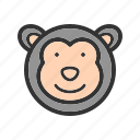 animals, chimpanzee, face, jump, monkey, safari, wildlife icon