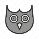 animal, beak, bird, close, eyes, face, owl icon