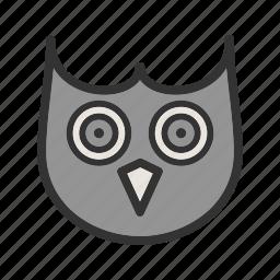animal, beak, bird, close, eyes, face, owl icon