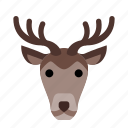 deer, expression, face, holiday, sad, smile, winter icon