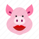 care, cosmetics, heart, lip, lipstick, pig, with icon