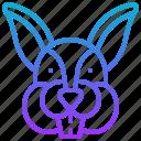 animal, draw, hare, head, rabbit
