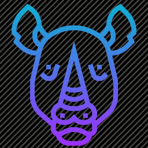 animal, horn, rhino, rhinoceros, wild icon