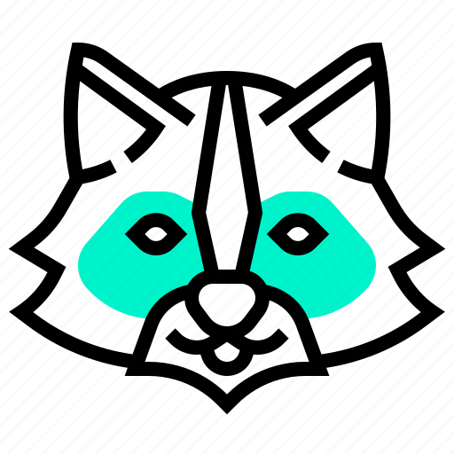 animal, head, mammal, nocturne, racoon icon