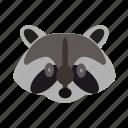 animal, head, jungle, racoon, tree icon