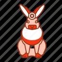 animal, front, icon2, orange, rabbit, sit icon