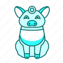 animal, blue, icon2, pig icon