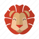 animal, brave, cute, fauna, head, lion, mascot icon