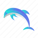 animal, dolphin, fauna, jump, mammal, mascot, sea icon