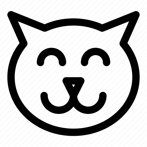 animal, cat, happy, pet, smile icon