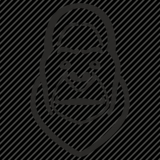 animal, avatar, face, gorilla, head icon