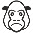 avatar, face, gorilla, head, sad icon