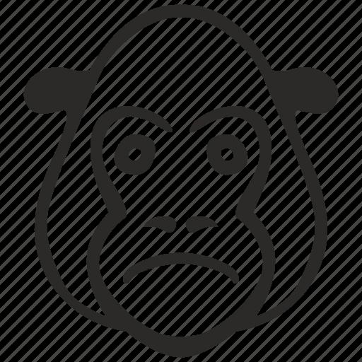 avatar, face, gorilla, head, sad icon