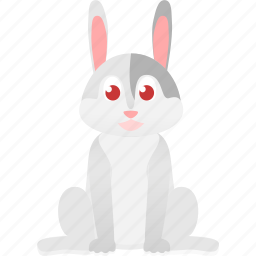 animal, baby, domestic, gray, hare, rabbt, wild icon