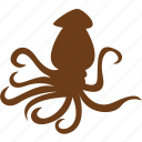 animal, aquatic animals, ocean, octopus, sea, seafood, ship icon