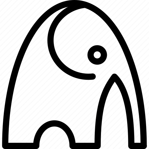 creative, elephant, forest, grid, herbivore, jungle, line, mammal, shape, sign, temple, zoo icon