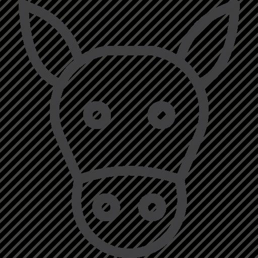 animal, donkey, head icon