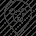 animal, map, pin, pointer, veterinary, zoo icon