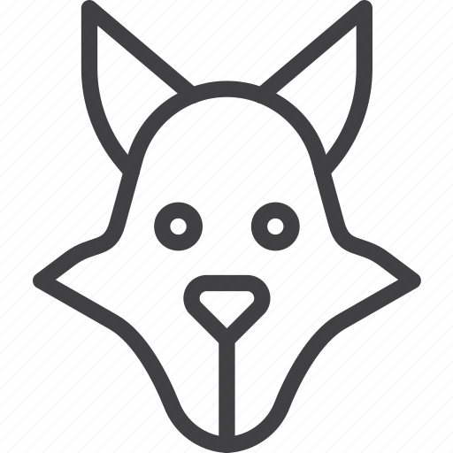 coyote, head, wolf icon