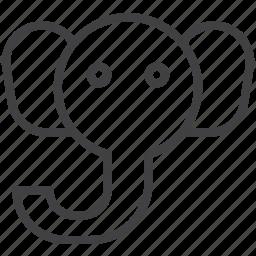 animal, elephant, head, wildlife icon
