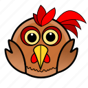 animal, bird, cute, eggs, farm, pet, rooster icon