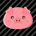 animal, cute, face, pig, pink