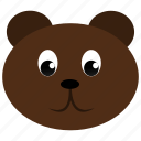 animal, bear, brown, face, wild icon