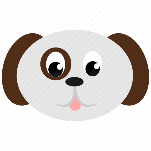 animal, canine, dog, domestic, face, white icon