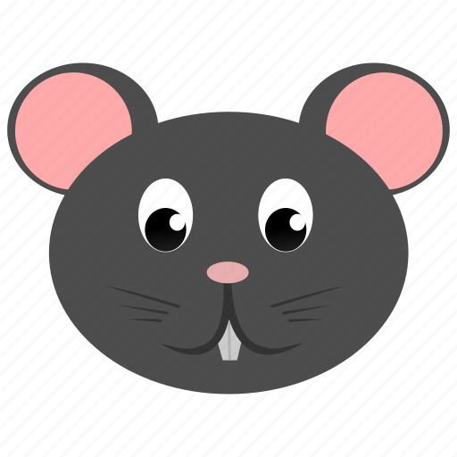 animal, domestic, face, gray, mouse, rat, wild icon