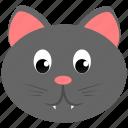 animal, cat, domestic, face, gray icon