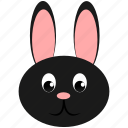 animal, dark, domestic, face, hare, rabbit, wild icon