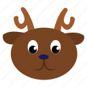 animal, brown, deer, face, wild icon