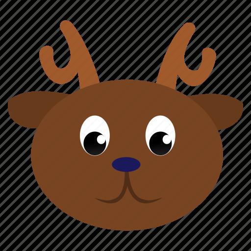 animal, brown, deer, face, wild icon