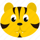 animal, face, feline, tiger, wild, yellow, zoo icon