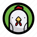 animal, chicken, face icon