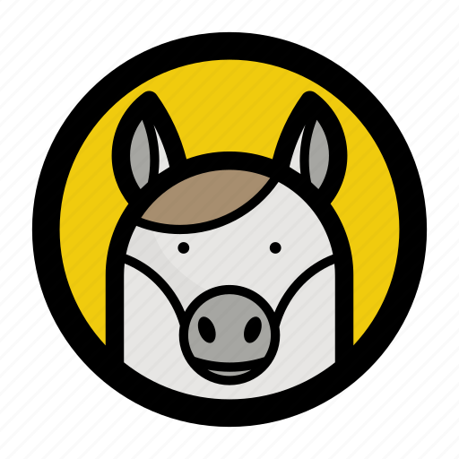 animal, face, horse, riding, toy icon