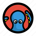 animal, face, ocean, octopus, sea, seafood icon