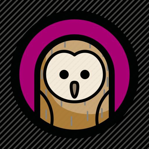 animal, bird, face, night, owl icon
