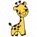 animal, cartoon, giraffe, tall icon