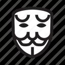 anonymous, emoticon, hacker, mask, sad icon
